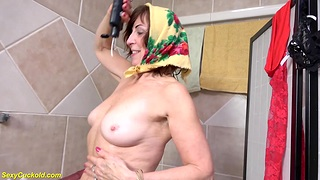 grandma takes a hot shower after cuckold sexual intercourse