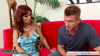 Mature mam Syren De Mer seduces young man and sucks his cock greedily