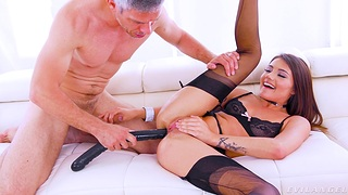 The man fucks say no to ass so hard that she comes first
