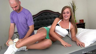 Unmask cutie April Brookes gets massaged with the addition of sucks a large dick