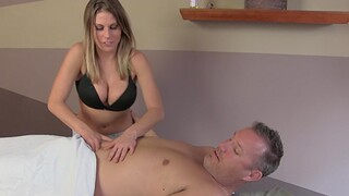 Lucky man gets pleasured by four babes at near an second-rate massage