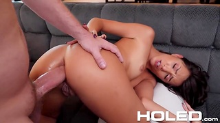 Brunet hottie Hime Marie is toying her butt hole before hardcore smart