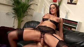 Hardcore fucking on the keep quiet sofa down horny MILF Emma Tushy