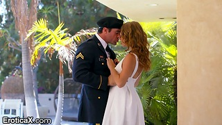 Bonny lady gives a blowjob to her man just about marine corps uniform