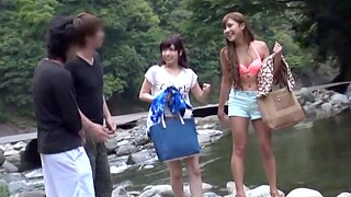 Outdoors video of a chap-fallen Japanese chick teasing and getting dicked