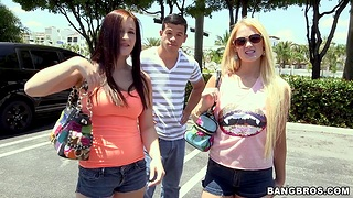 Handsome stud fucks two low-spirited sluts Summer Blue and Jordi Jae in the effrontery first