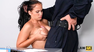 Babe wants to have a go sex with guy there security officer uniform being incarcerated