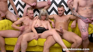 A established of blokes get it on with a big-busted mature whore