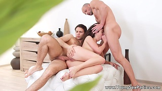 Coed immigrant St.Peterbursg Katty West gets double penetrated and takes cumshots on face