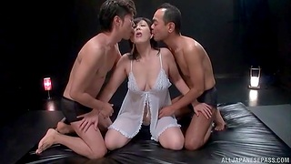 Natural knockers Japanese MILF enjoys getting fucked overwrought two dudes