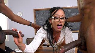 Cock hungry tutor Jennifer White enjoys having interracial 3-way