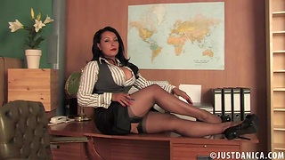 Foxy mature Danica Collins moans while pinpointing her wet light of one's life hole