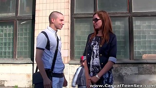 Dude picks up pretty red haired girl and fucks their way anus and mouth