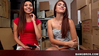 Skinny best friends Serena Torres and Gisele Mona fucked by a stud