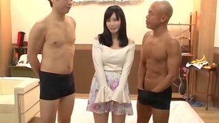Japanese hottie drops on will not hear of hands and knees to be fucked by 2 guys