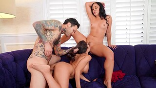 FFM threesome with hotties Kristina Flesh-coloured and Tru Kait in the livingroom