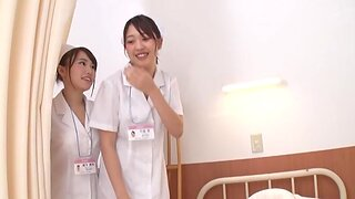 Hot Japanese nurses drop their uniforms to have a FFM threesome