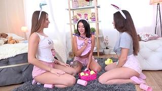 Of age games of pretty lesbian teens Katrin Tequila, Mickey Moor plus Stella Shine
