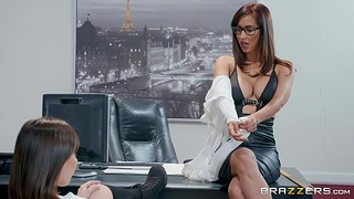 College babe Jenna Sativa is fucked by lesbian dean Isis Love there her office
