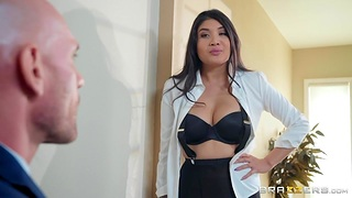 Brenna Sparks in ripped pantyhose is fucked by bald secured macho Johnny Sins