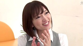 Japanese girl with small tits being fucked hard in the office