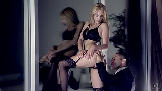 Blake Eden moans loudly while object her wet pussy banged hard