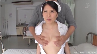Japanese nurse fucked by patient and filled with cum