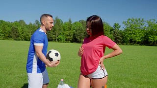 Fit brunette Martina Smeraldi gets butt fucked in outdoors