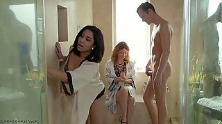 Sexy masseuse Krissy Lynn and her assistant fuck one horny client
