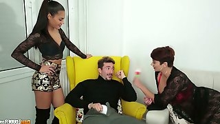Hot blooded Colombian hottie Amaranta Hank and her GF fuck one lucky dude